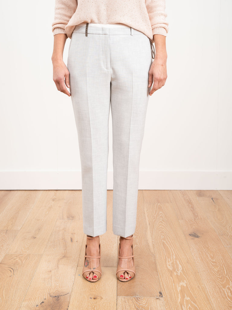 pant with satin trim