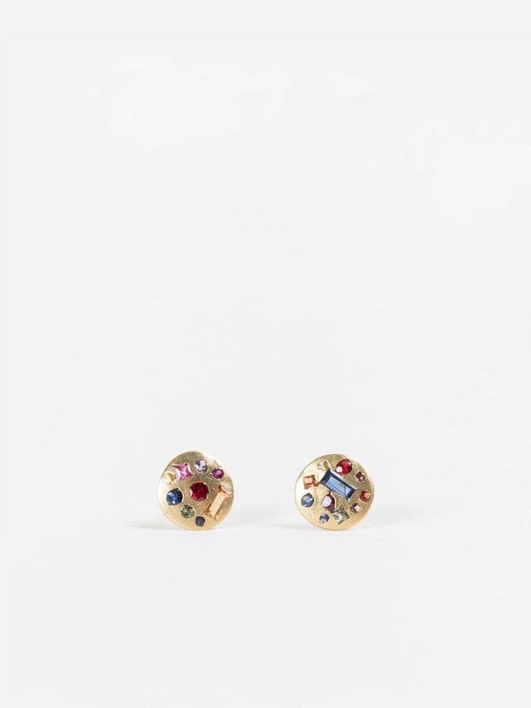 Polly Wales Harlequin Sapphire Disc Studs