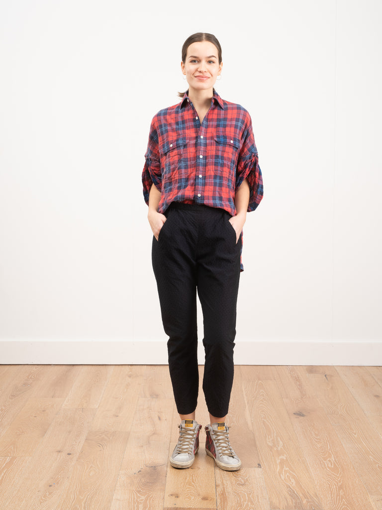 R13 Roll Slv Plaid Shirt Red/Blue