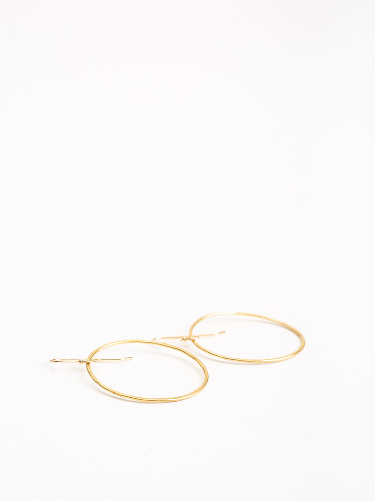 hammered gold oval hoops