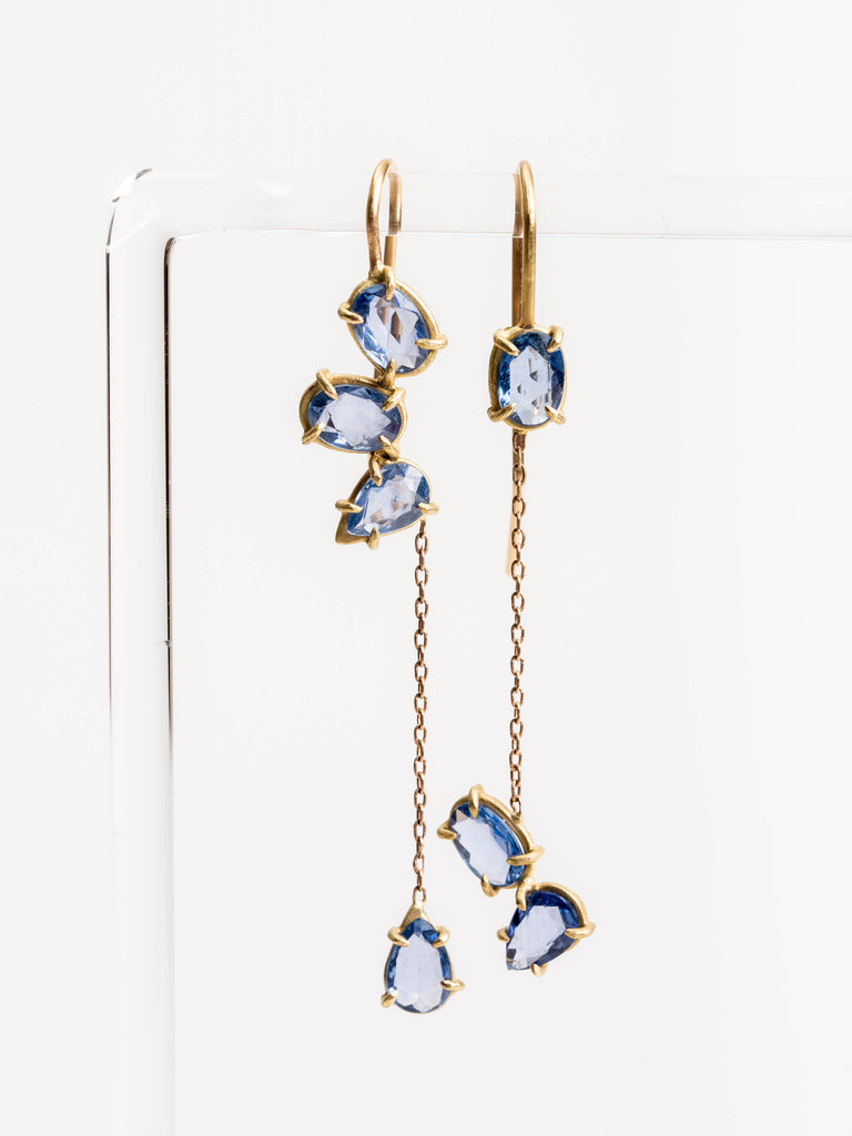 blue sapphire gem drop earrings