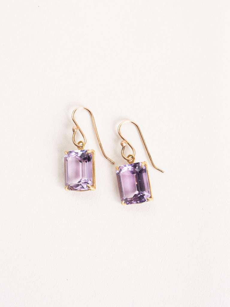 emerald cut lavender amethyst earrings