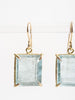 single moss aqua cube earrings