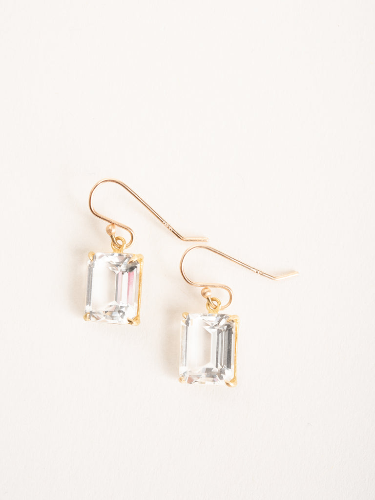 emerald cut white topaz earrings