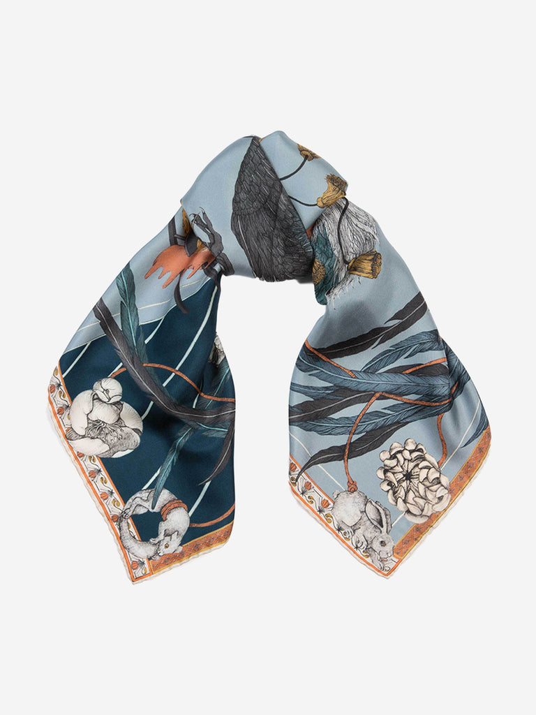 rooster's dance 90cm silk twill scarf - denim/chambray