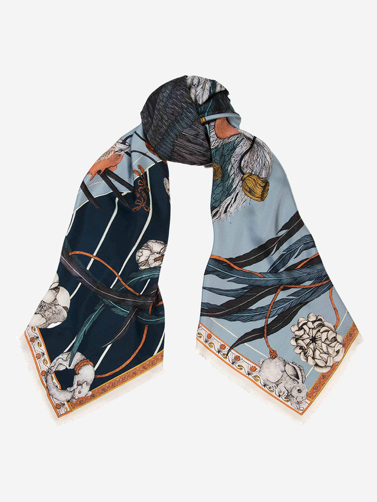 rooster's dance silk twill scarf - denim/chambray