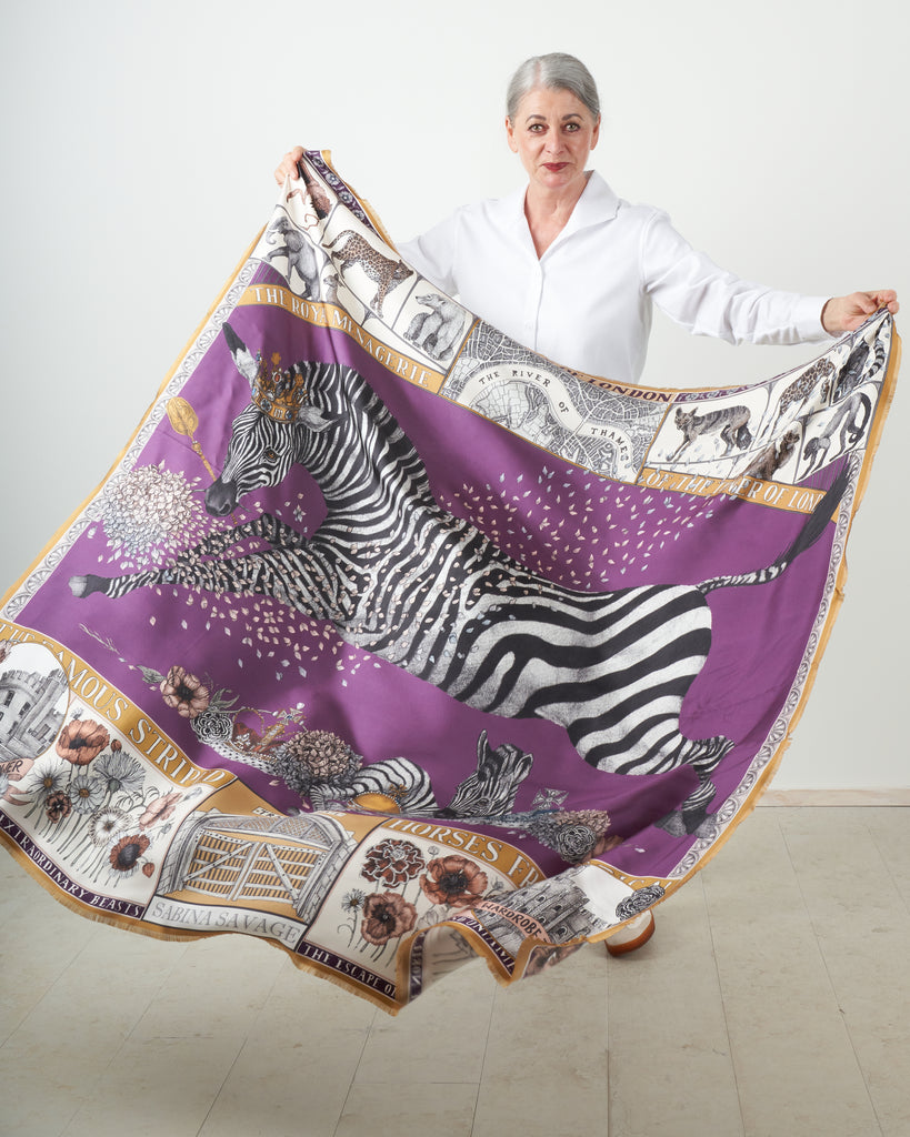 royal striped horses silk twill scarf - amethyst