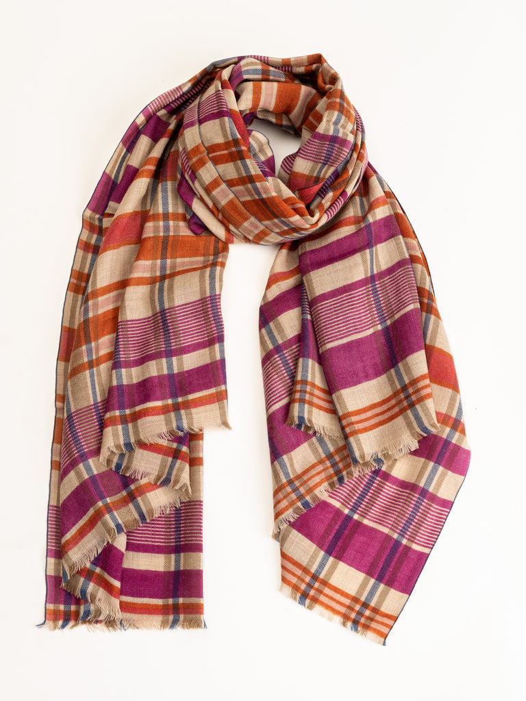 plaid scarf - indian pink
