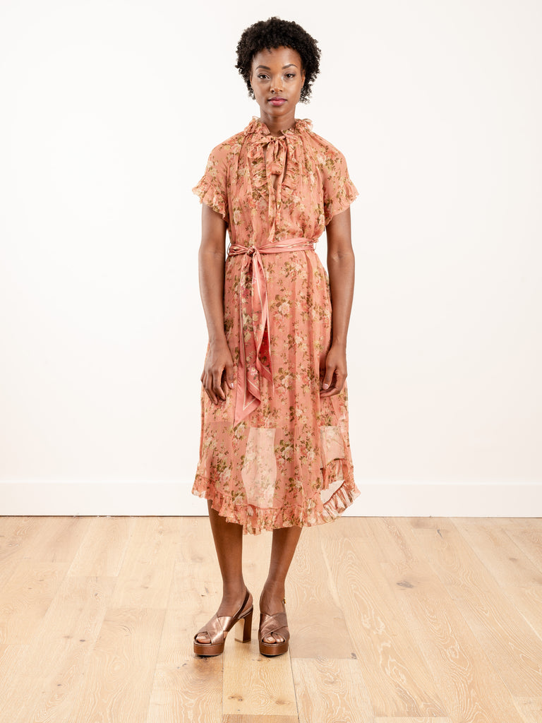 espionage frilled dress - rosewood floral