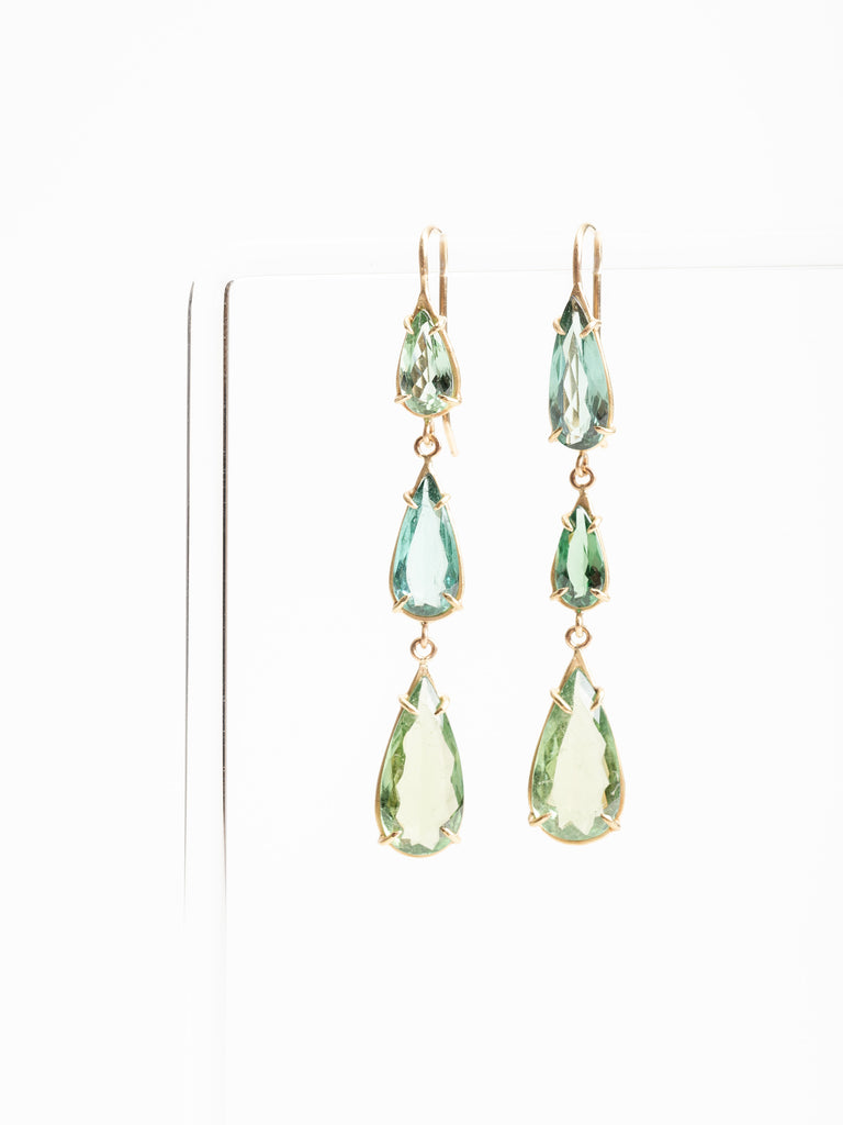 green tourmaline teardrop earrings
