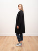 collarless coat matelassé - black