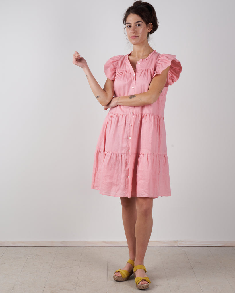 shannon scallop button down dress - rose