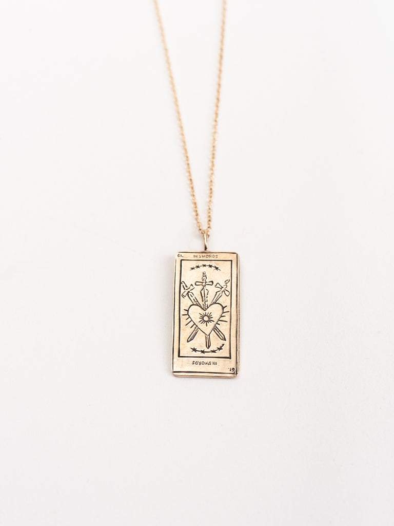 tarot card pendant - three of swords