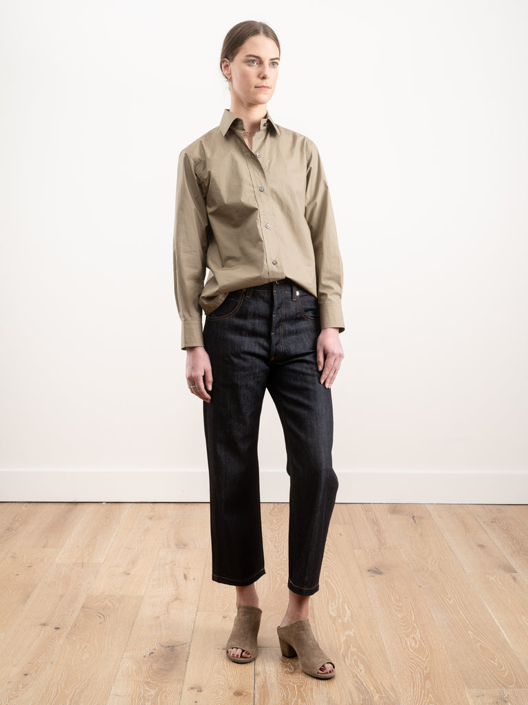 5 pockets low crotch pants - woven raw