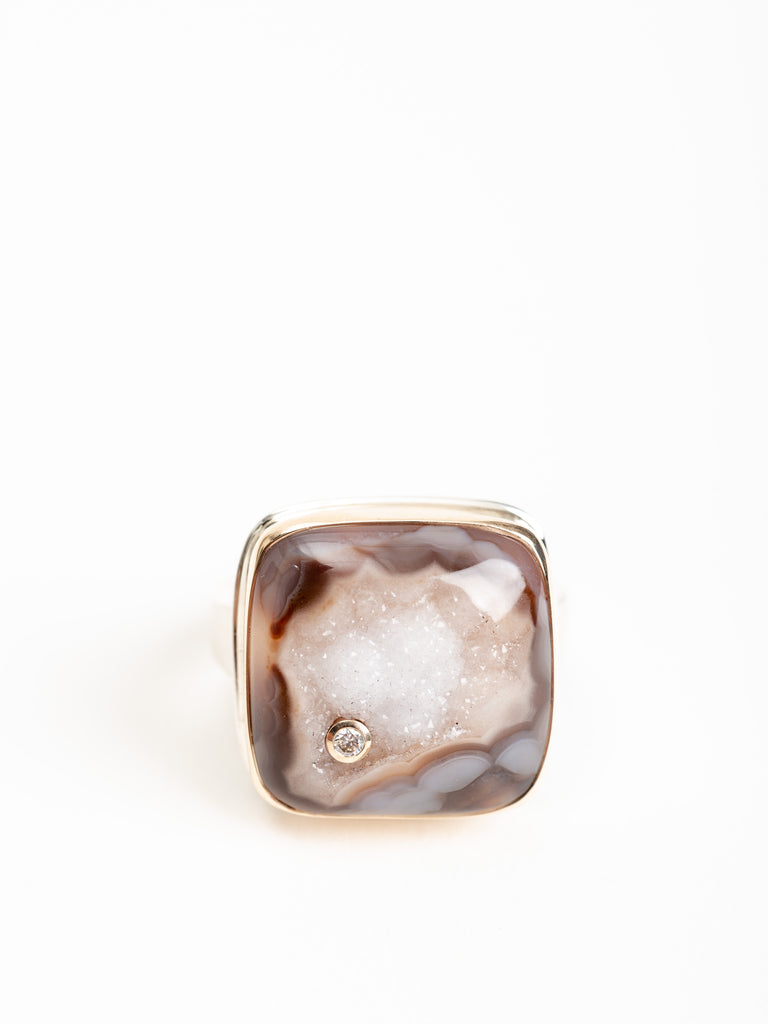 square dark drusy & diamond ring