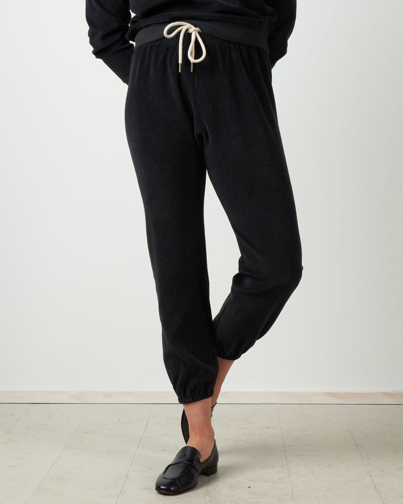the velour stadium sweatpant - almost black