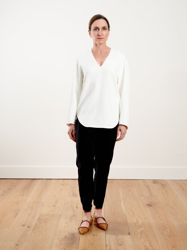 chalky drape sculpted long sleeve top - white