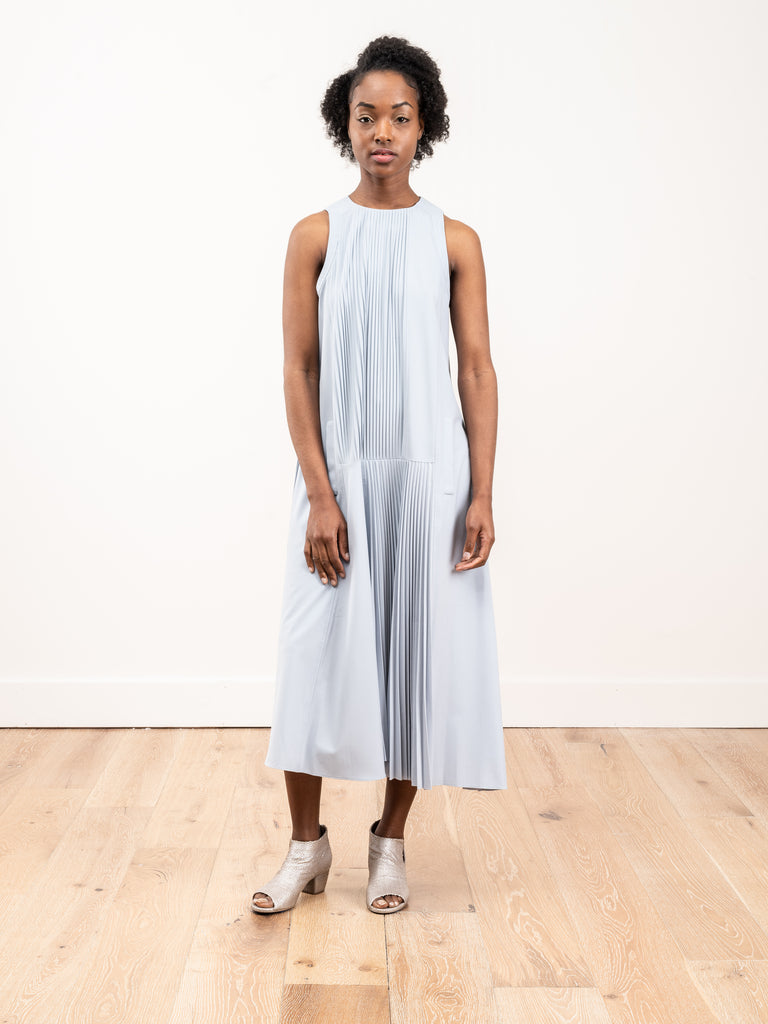 edith pleated sleeveless dress