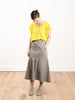 twill long skirt - dark stone