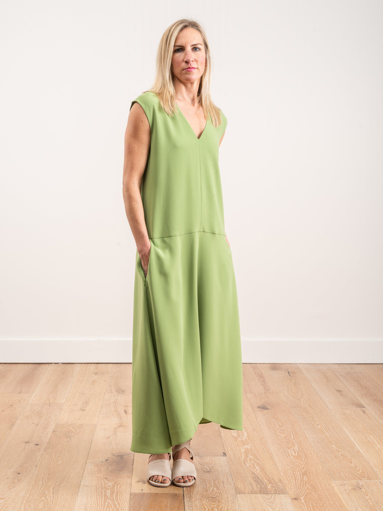 spring triacetate v-neck dress