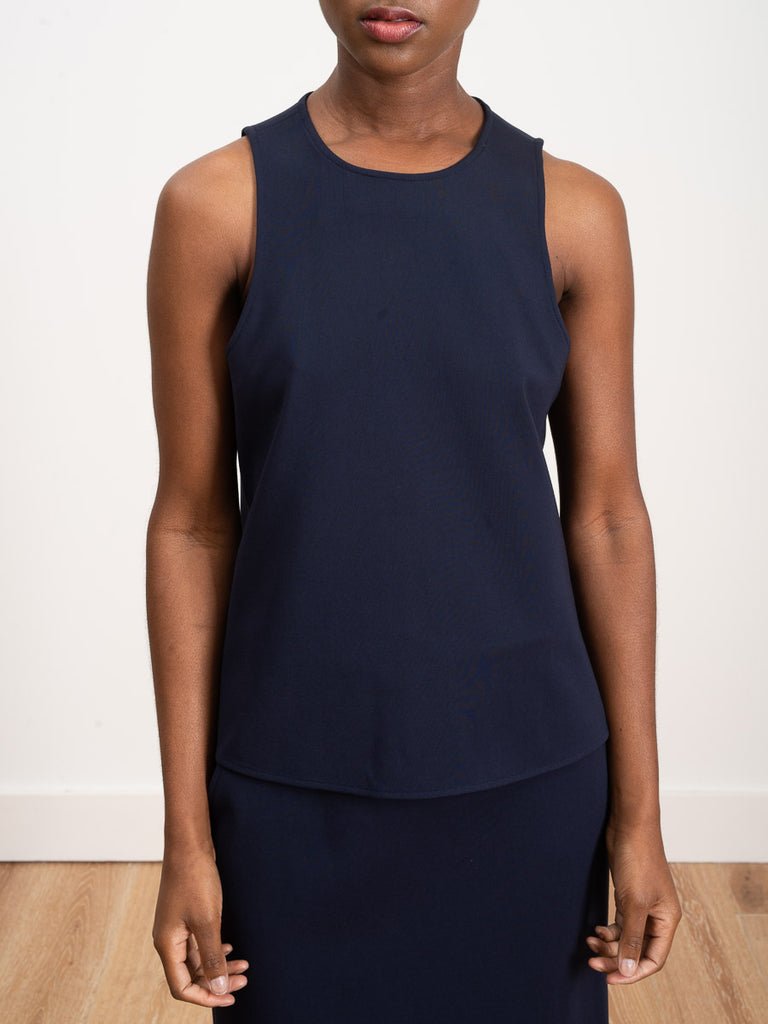 stretch knit tank - navy
