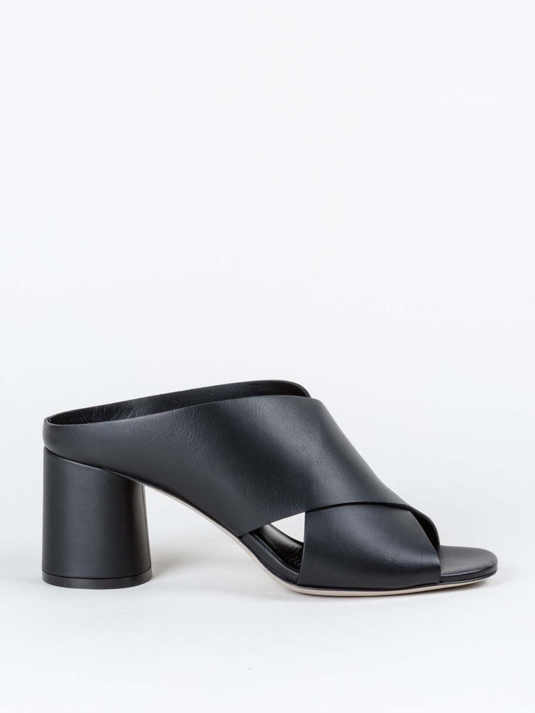 Vince Theron Criss Cross Sandal in Black Leather