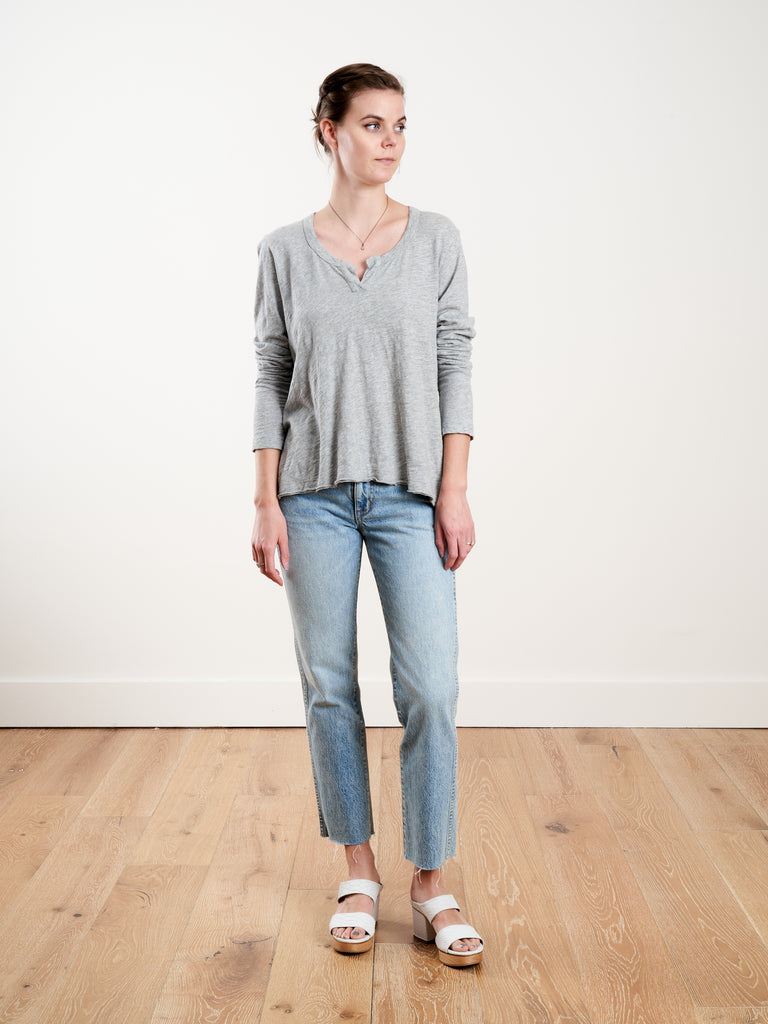 l/s hi-low shrunken placket tee - gray heather