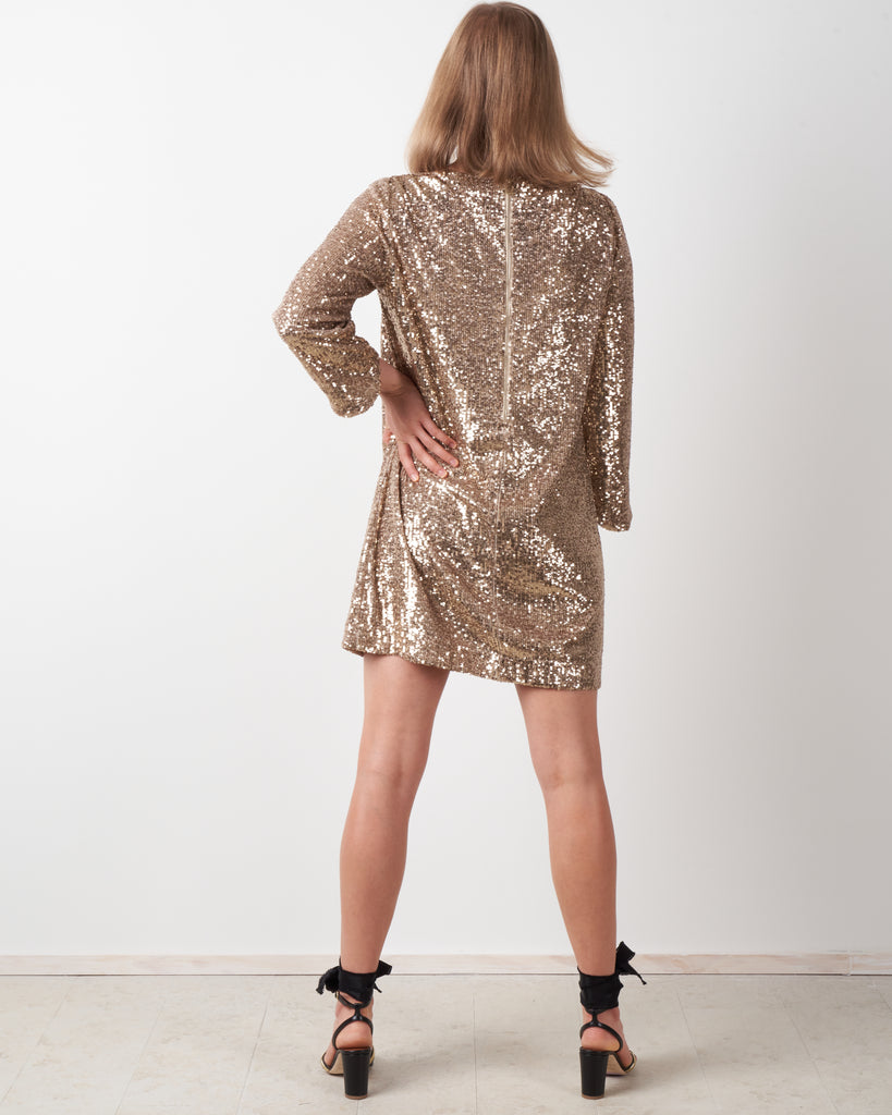 rim sequins dress - gold
