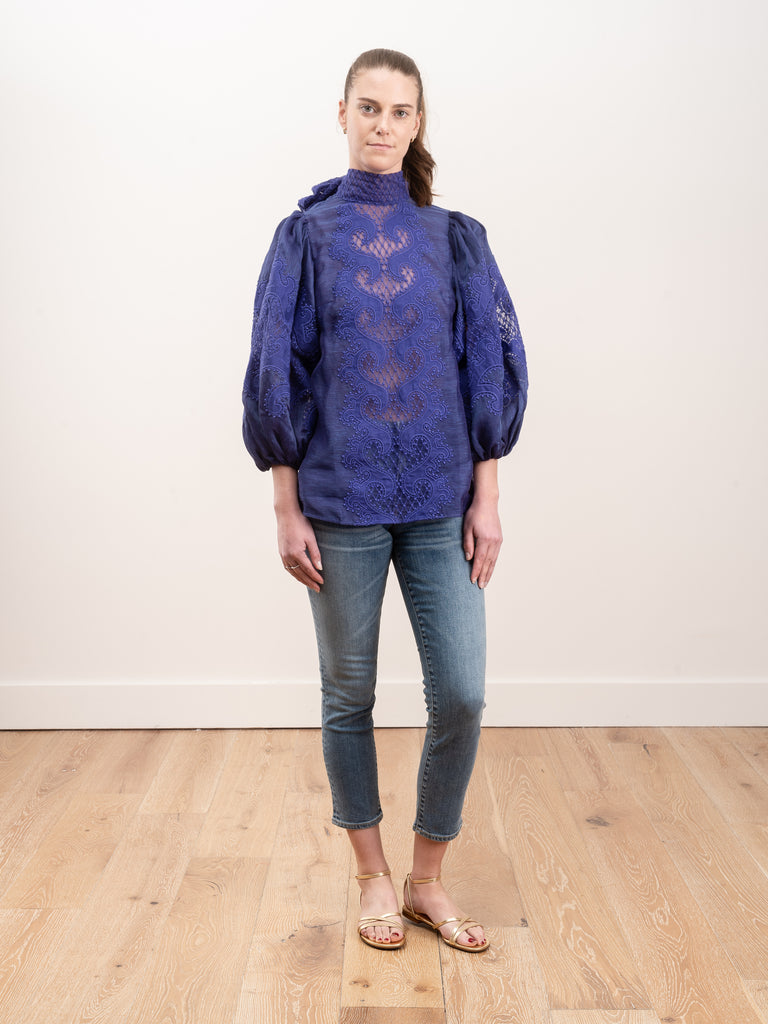 brightside knot embroidered blouse - blue