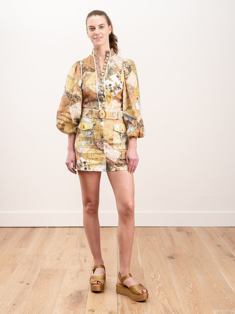 brightside piped body shirt - batik patch