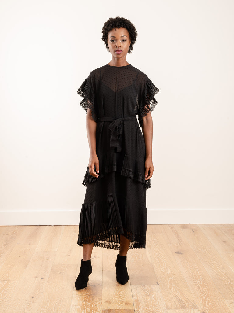 espionage pleat frill midi dress