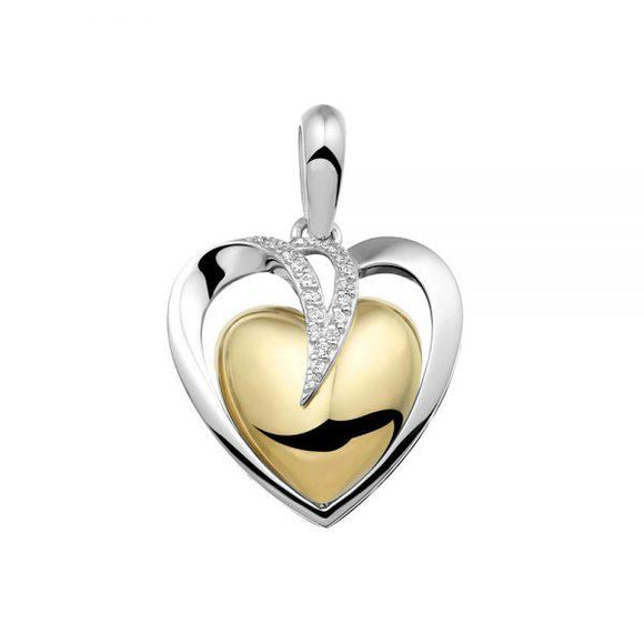 Silver and gold heart with cremation ashes