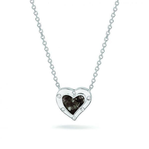 Silver Heart Necklace with Cremation Ash