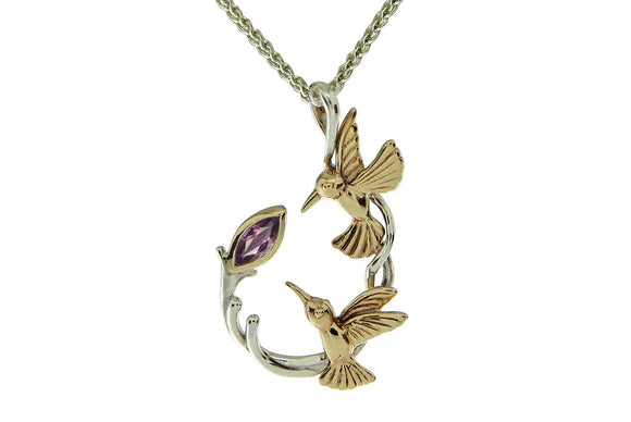 Silver and Gold Hummingbird Sympathy Necklace