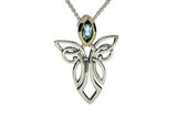 Silver Guardian Angel Necklace with Gem