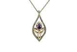 Silver Guardian Angel Closed Necklace with Gem