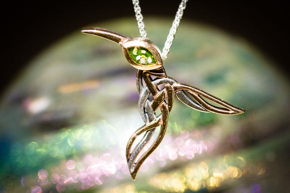 Silver & Gold Hummingbird Memorial Necklace with Cremation Ash