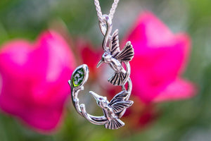 Silver Double Hummingbird Memorial Necklace with Cremation Ash