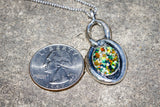 Cremation Ash Oval Silver Necklace with Crushed Opal