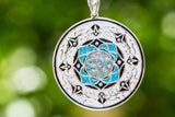 Aqua Silver Pendant with Cremation Ash and Crushed Opal