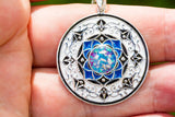 Blue Silver Pendant with Cremation Ash and Crushed Opal