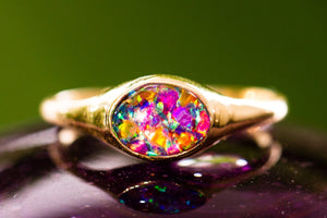 Gold Plated Ring with Cremains