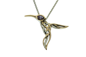 Silver & Gold Hummingbird Memorial Necklace