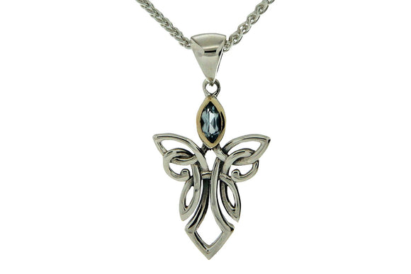 Small Silver Guardian Angel Necklace with Gem