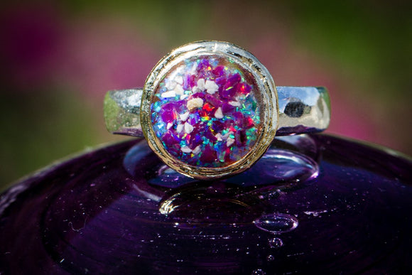Two Tone Ring with Cremation Ashes and Crushed Opal