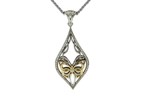silver and gold sympathy butterfly necklace