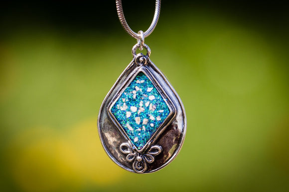 Textured Pear Cremation Ash Silver Necklace Crushed Opal