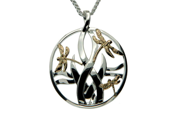 Silver Sympathy Pendant with Dragonflies