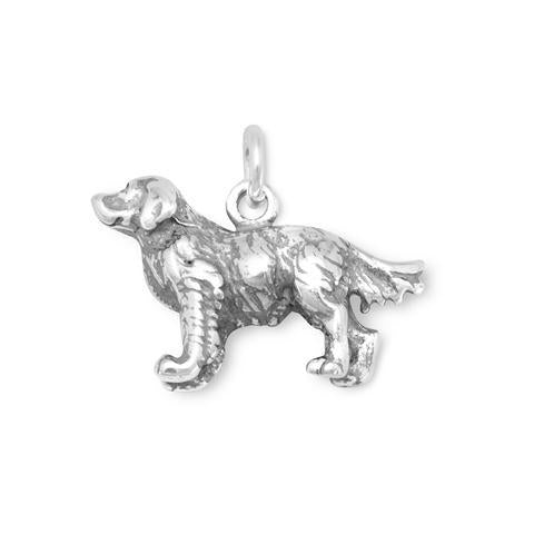 Sterling Silver Standing Golden Retriever Charm