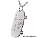 Silver Skateboard Cremation Jewelry Pendant for Cremains